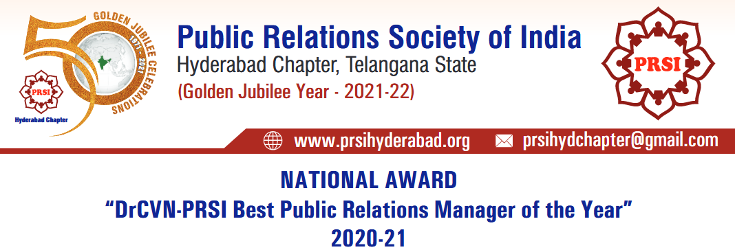 NATIONAL AWARD – BEST PR MANAGER OF THE YEAR : 2020-21
